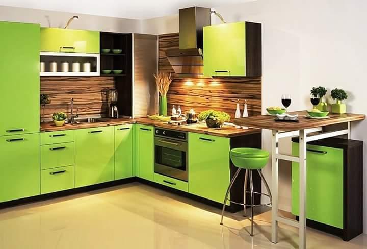 Desain Interior Dapur Dengan Nuansa Hijau Kitchen Set Samarinda
