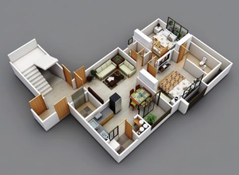 23 Desain Rumah Minimalis 2 Kamar Tidur Modern Kumpulan 003