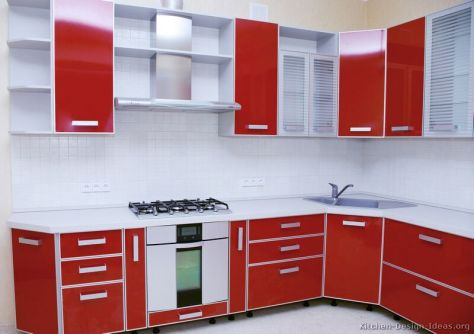 kitchen-cabinets-modern-two-tone-007a-s22172674-red-white-angled-corner-sink