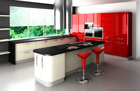 kitchen-cabinets-modern-two-tone-022a-s4998880-red-white-curved-island-seating-3D-render