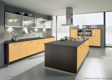 kitchen-cabinets-modern-two-tone-189-A096a-yellow-orange-brown-island-steel-hood
