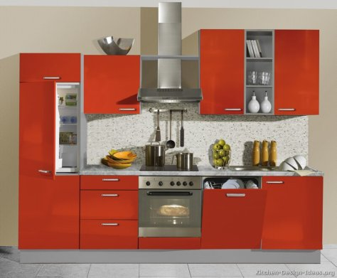 kitchen-cabinets-modern-two-tone-217-A005a-red-gray-built-in-refrigerator