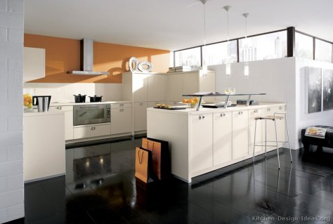 kitchen-cabinets-modern-white-017-A117a-orange-walls-steel-hood-peninsula