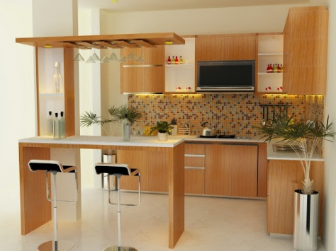 19 desain minibar minimalis samarinda kitchen set for Kitchen with mini bar design